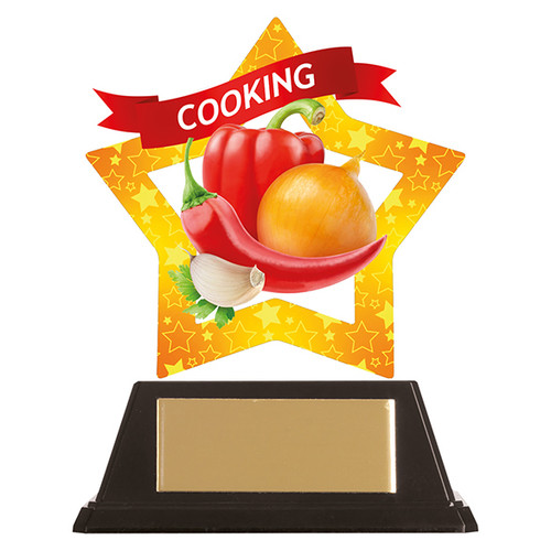 Cooking acrylic mini-star award at 1st Place 4 Trophies FREE engraving