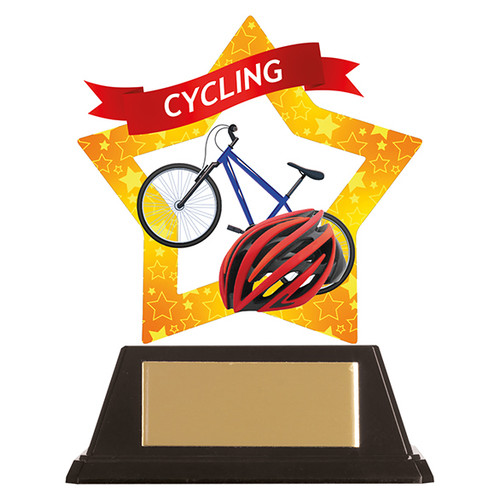 Cycling acrylic mini-star award at 1st Place 4 Trophies FREE engraving