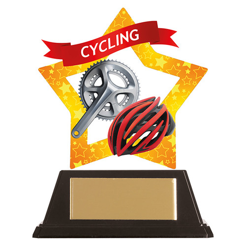 Cycling Helmet acrylic mini-star award at 1st Place 4 Trophies FREE engraving