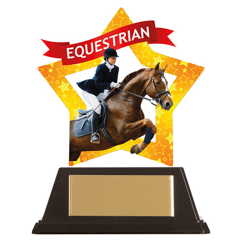 Equestrian acrylic mini-star award at 1st Place 4 Trophies FREE engraving