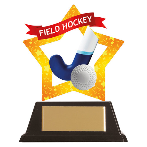 Field hockey acrylic mini-star award at 1st Place 4 Trophies FREE engraving