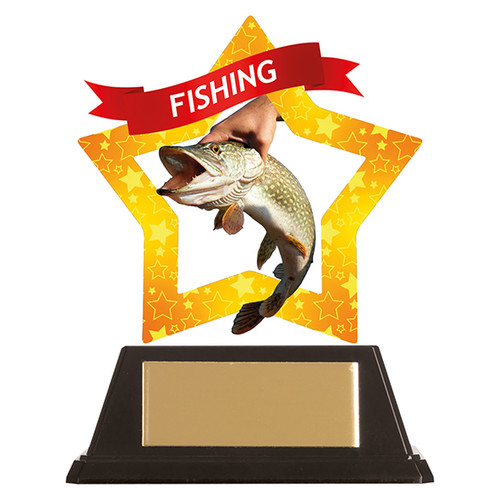 Fishing acrylic mini-star award at 1st Place 4 Trophies FREE engraving