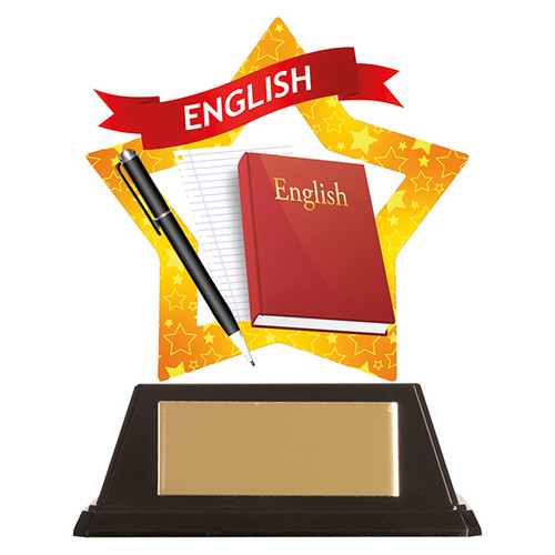 English Academic acrylic mini-star award at 1st Place 4 Trophies FREE engraving