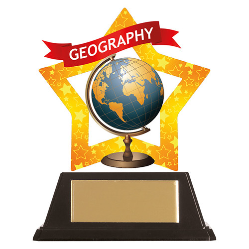 Geography academic acrylic mini-star award at 1st Place 4 Trophies FREE engraving