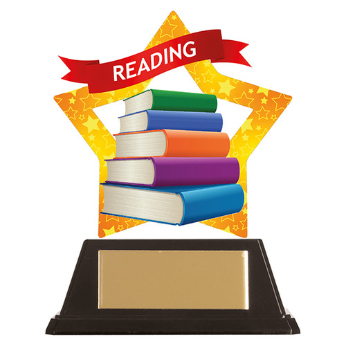 Reading academic acrylic mini-star award at 1st Place 4 Trophies FREE engraving