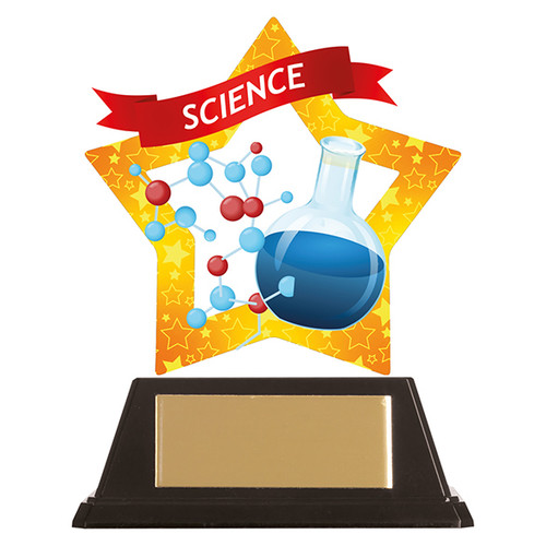 Science academic acrylic mini-star award at 1st Place 4 Trophies FREE engraving
