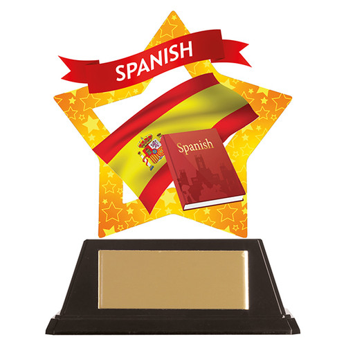 Spanish academic acrylic mini-star award at 1st Place 4 Trophies FREE engraving