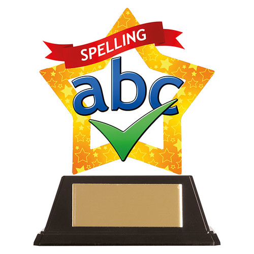 Spelling academic acrylic mini-star award at 1st Place 4 Trophies FREE engraving