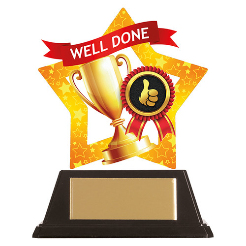 Well Done achievement acrylic mini-star award 1st Place 4 Trophies FREE engraving