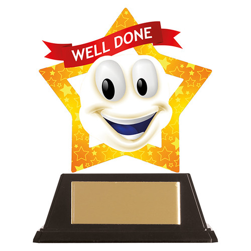 Well Done Smile achievement acrylic mini-star award 1st Place 4 Trophies FREE engraving