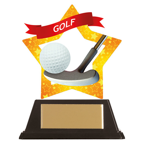 Golf acrylic mini-star award 1st Place 4 Trophies FREE engraving