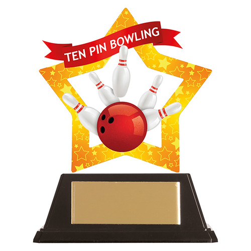 Ten Pin Bowling acrylic award 1st Place 4 Trophies FREE engraving