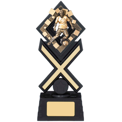 Activ8 Football black and gold trophy in 3 sizes.