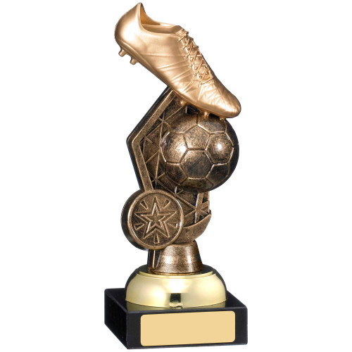 """7"""" Gold Boot & Ball Football Trophy"""