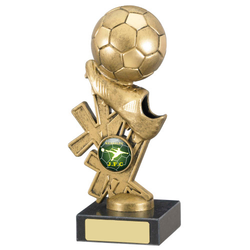 """6.75"""" Gold football and boot trophy with FREE engraving"""