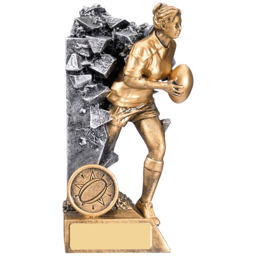 Female Breakout Rugby stunning trophy in 3 sizes at budget prices