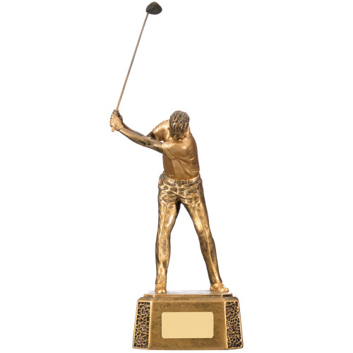 Antique gold finish male golf trophy with FREE engraving