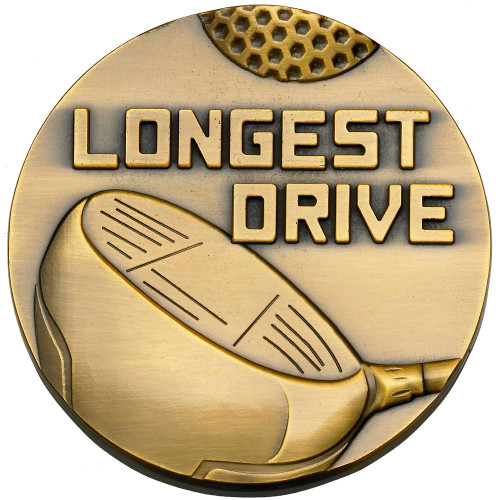 60mm x 4mm Longest Drive Golf Medal