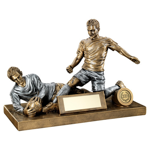 Superb football tackle and goalkeeper save trophy FREE engraving