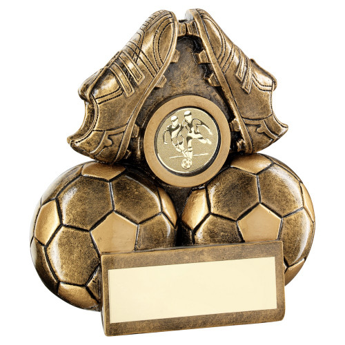 Mini gold football boots and two footballs award with FREE engraving