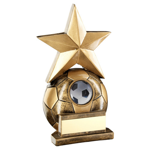Bright Gold Star Football Trophy with FREE engraving