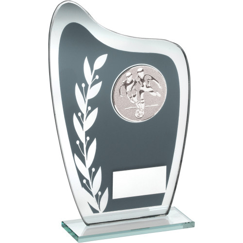 Curved glass Football award with laurel design and FREE Engraving.