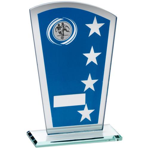 Superb quad star blue glass football trophy in 3 sizes