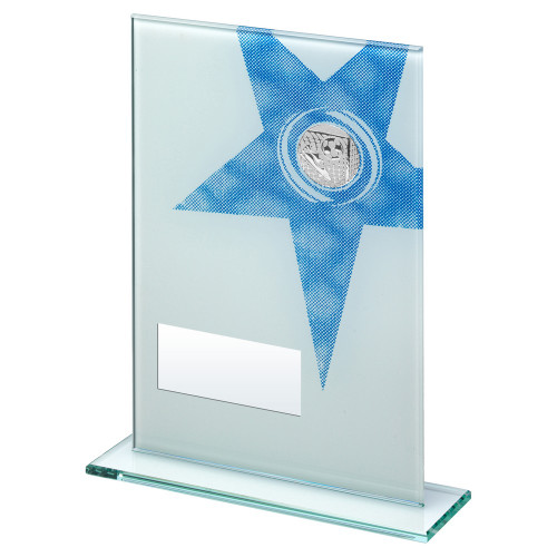 Clear glass football trophy with side blue star in 3 sizes