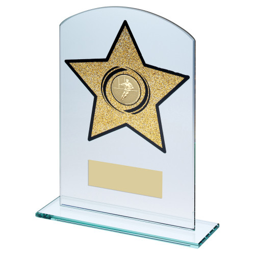 Clear glass rugby trophy with glitter gold star in 3 sizes