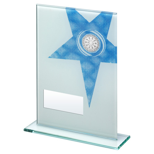 Clear glass darts trophy in 3 sizes with FREE engraving