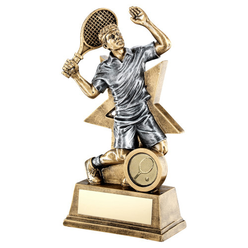 Fabulous male tennis star trophy available with FREE engraving from 1stPlace4Trophies