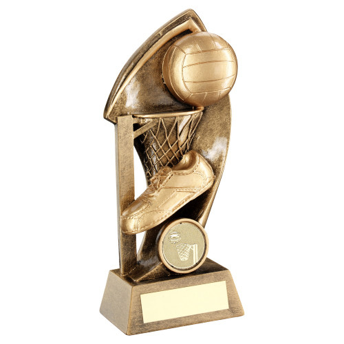 Shard netball hoop, ball and trainer trophy with FREE engraving