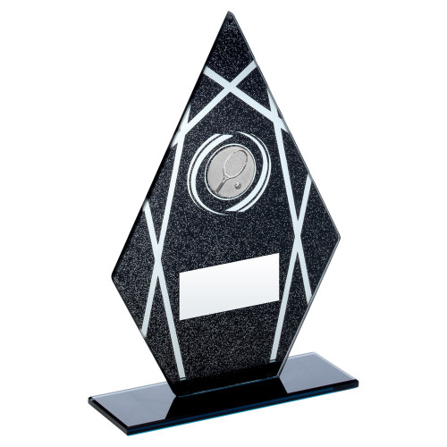 Black glitter pointed glass tennis trophy at 1stPlace4Trophies