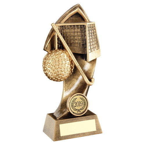 Shard hockey goal, stick & ball trophy with FREE engraving