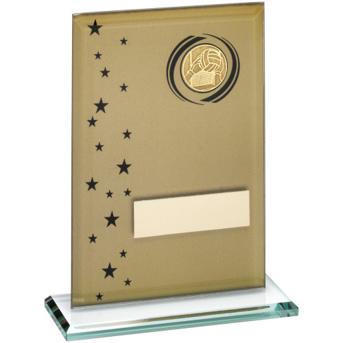Gold & Black Glass Gaelic football Award - 3 sizes that include FREE personalised engraving.
