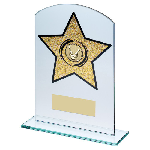 Clear glass ten pin bowling trophy with glitter gold star in 3 sizes