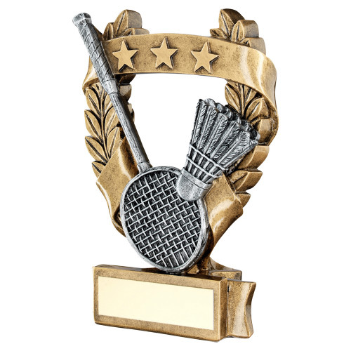 Badminton trophy available in 3 sizes with FREE engraving