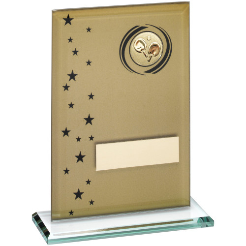 Gold & Black Glass Table Tennis award with FREE engraving