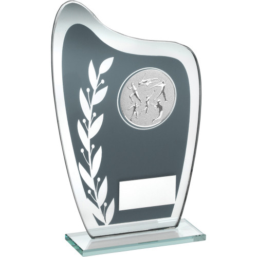 Curved glass athletics trophy with FREE engraving