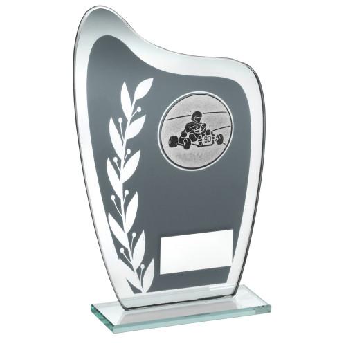 Curved glass motorsports and go-kart laurel trophy FREE engraving