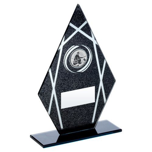 Black glitter pointed glass angling trophy at 1stPlace4Trophies