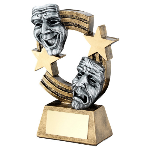 Beautifully detailed drama masks trophy FREE engraving