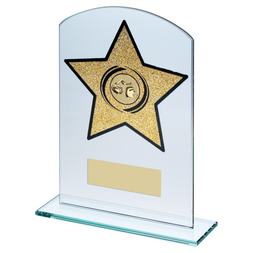 Clear glass boxing trophy with glitter gold star in 3 sizes