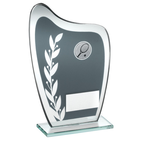 Curved glass tennis trophy with FREE engraving