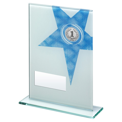 Multisport blue star glass trophy in 3 sizes with FREE engraving