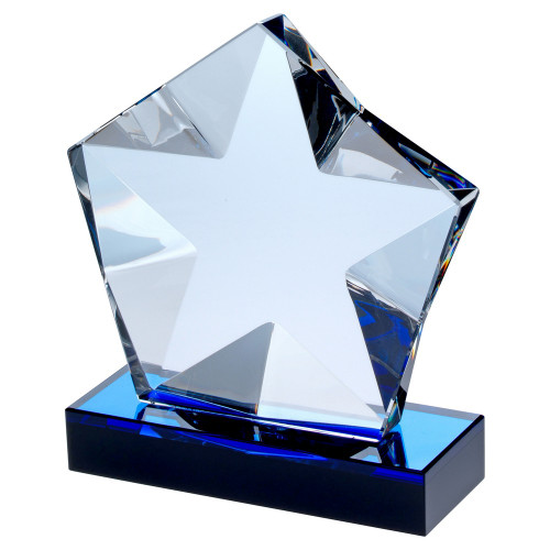Elite blue glass star shard award available in 3 sizes