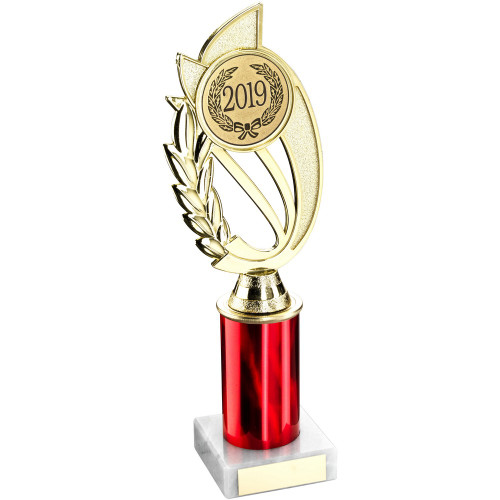 """10"""" Red Column Gold Trophy includes FREE engraving"""