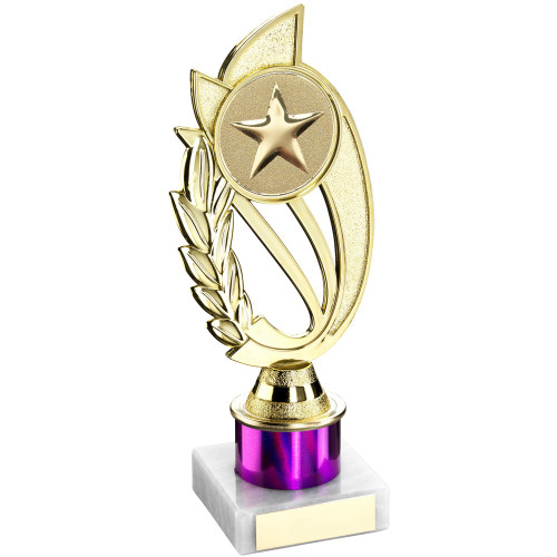 """8"""" Purple Column Gold Trophy includes FREE engraving"""