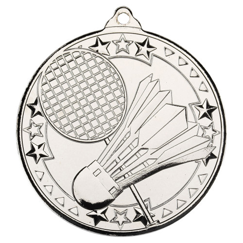 50mm Silver Badminton Medal Award