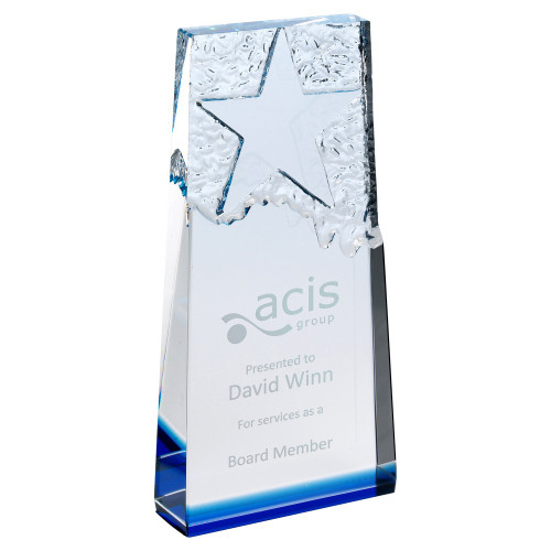 Premium blue & clear glass star corporate trophy